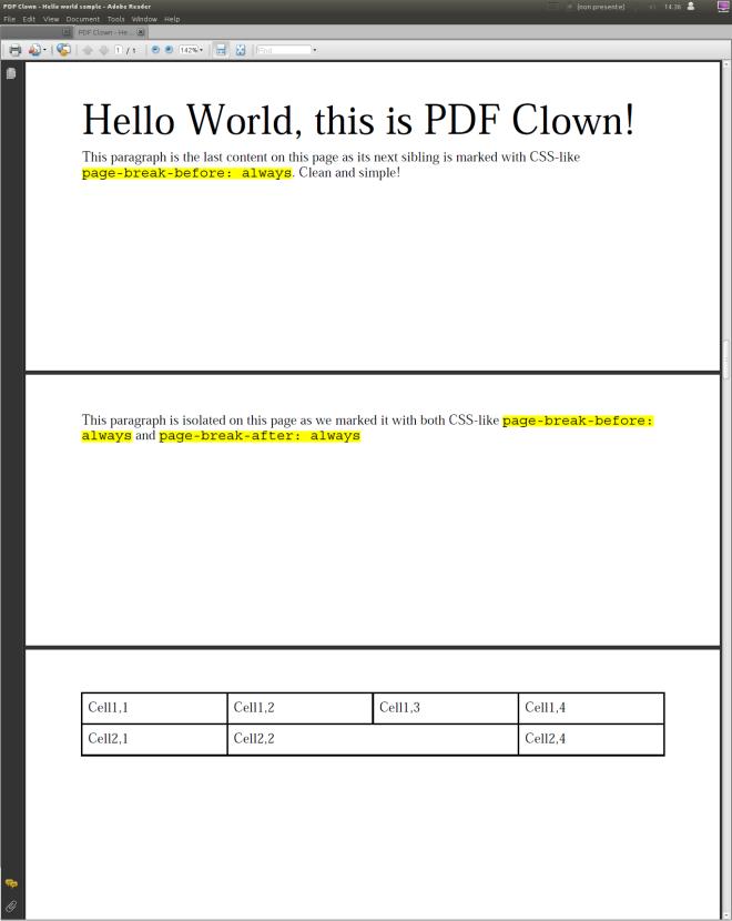 Page breaks sample