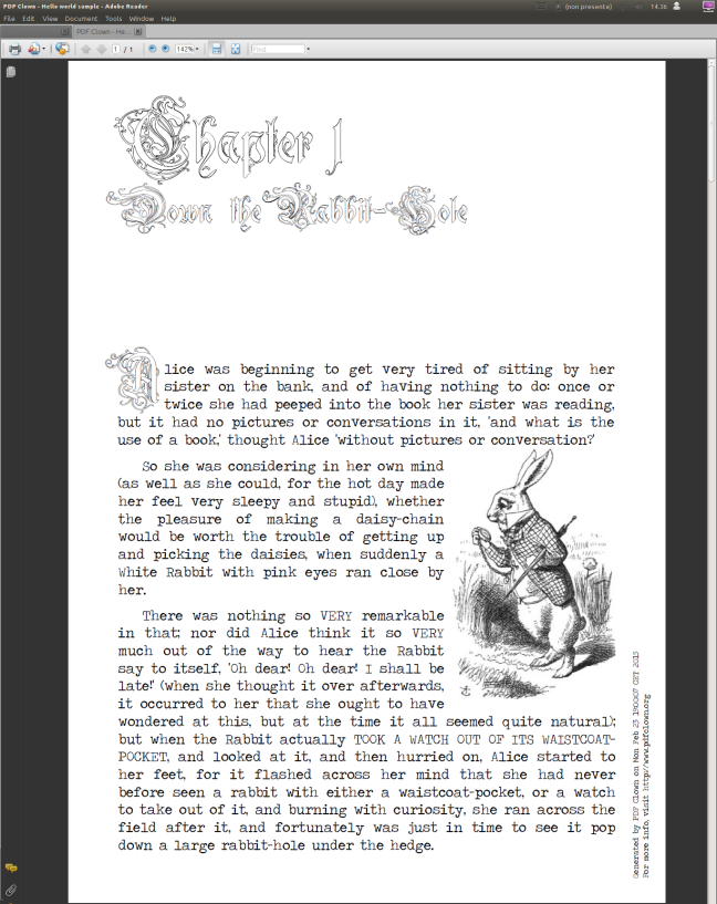 Advanced typesetting sample generated by PDF Clown